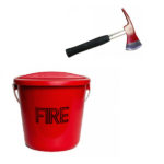 PLASTIC FIRE BUCKET WITH LID & FIRE AXES